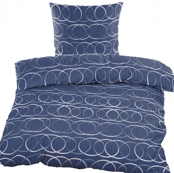 Seersucker Bettwäsche 135x200 +80x80cm, blau, Kreise, bügelfrei