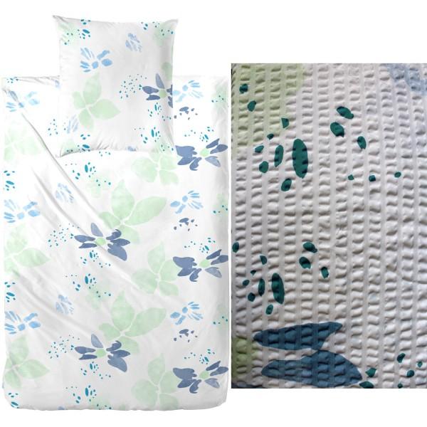 Seersucker Bettwäsche 135x200 +80x80cm, grün blau weiß, Blütenmuster , bügelfrei