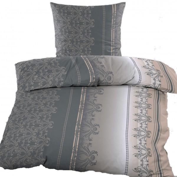 Biber Winter Bettwäsche 135 x 200 + 80x80 cm, 100% Baumwolle, grau hellgrau beige, Ornamente