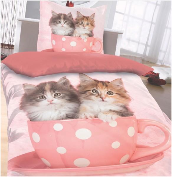 Katzen Motiv Wende Bettwäsche, 135 x 200 + 80x80cm fotorealistischer Druck
