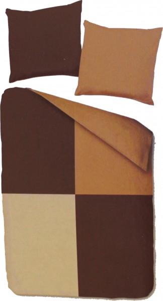 Fleece Winter Wende Bettwäsche, Übergröße: 155x220 + 80x80cm, braun, Patchwork Karo, Microfaser,