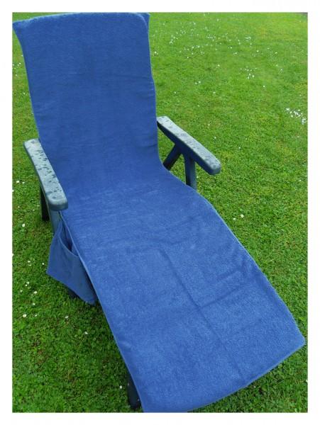 Frottee Liegestuhl Schonbezug, mit Seitentasche, 190 x 60 cm, blau, für Gartenliege Strandliege