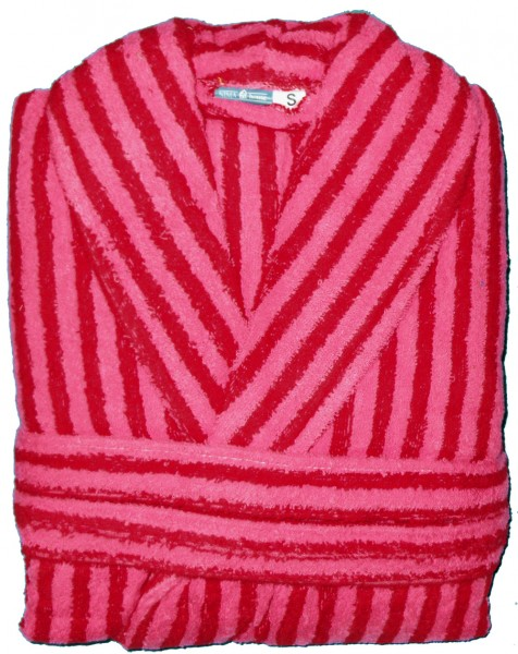 Frottee Bademantel aus Baumwolle, rot rose Streifen, S,M,L od.XL, Morgenmantel, Frottier,