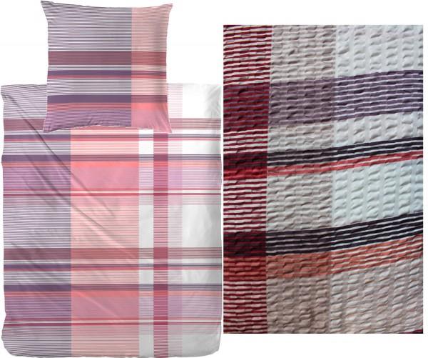 Seersucker Bettwäsche 135x200 +80x80cm, rot rose weiß, kariert, bügelfrei
