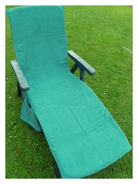 Frottee Liegestuhl Schonbezug, mit Seitentasche, 190 x 60 cm, türkisgrün, für Gartenliege Strandlieg