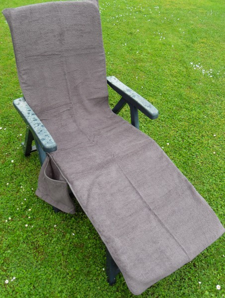 Frottee Liegestuhl Schonbezug, mit Seitentasche, 190 x 60 cm, grau, für Gartenliege Strandliege,