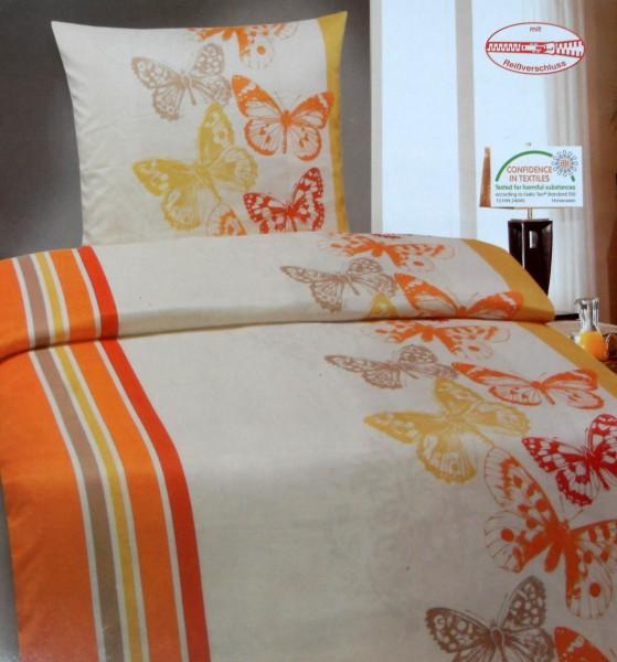 Bettwäsche, Übergröße: 155 x 220 + 80x80cm, Schmetterling, orange creme, Reissverschluß,