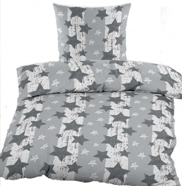 Biber Winter Bettwäsche 135 x 200 + 80x80 cm, Baumwoll Mischgewebe, grau Sterne