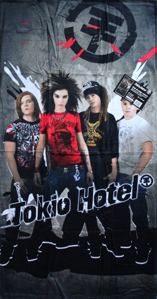 Tokio Hotel Duschtuch Strandtuch, 75x150 cm, Velour Frottier, 100% Baumwolle, bedruckt, Strandlaken,