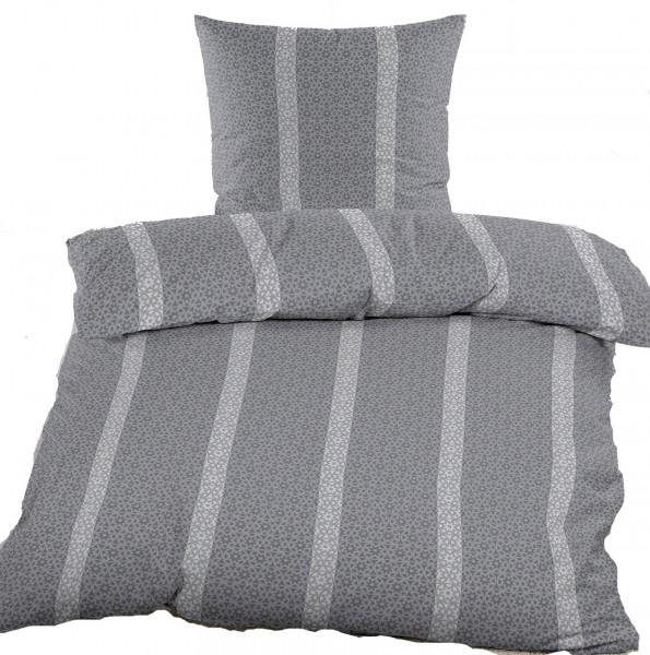 Biber Winter Bettwäsche 135 x 200 + 80x80 cm, 100% Baumwolle, grau hellgrau Streifen