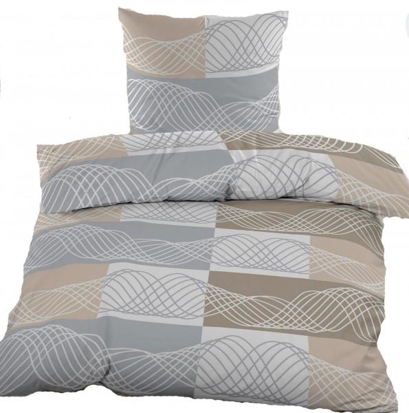 Biber Winter Bettwäsche 135 x 200 + 80x80 cm, 100% Baumwolle, beige grau Kringel
