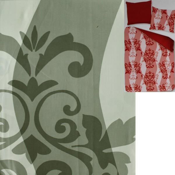 Wende Bettwäsche, Übergröße: 155 x 220 + 80x80cm, grau dkl.grau weiß gemustert, Reissverschluß, Micr