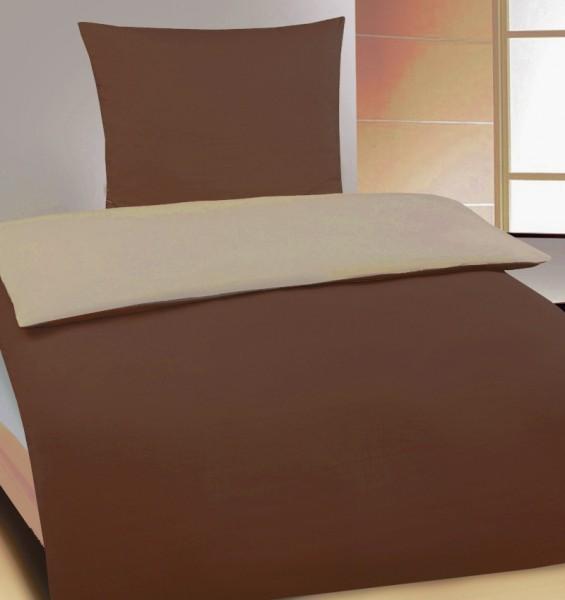 hochwertige Wende Bettwäsche 135x200 +80x80cm, braun creme, uni/einfarbig, Microfaser Jersey-Copy