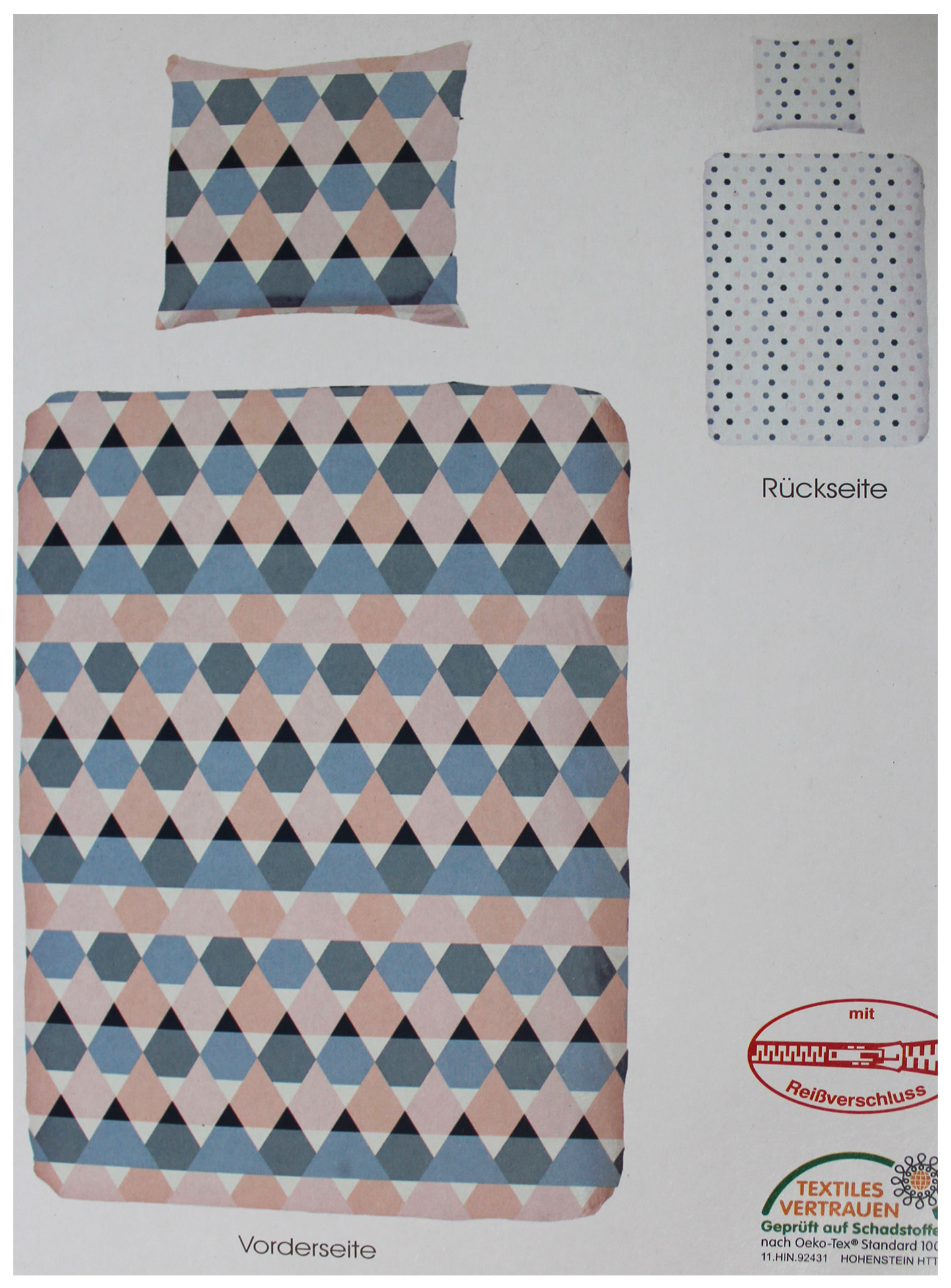 wende bettw sche bergr e 155x220 80x80cm multicolor rauten muster microfaser kh. Black Bedroom Furniture Sets. Home Design Ideas