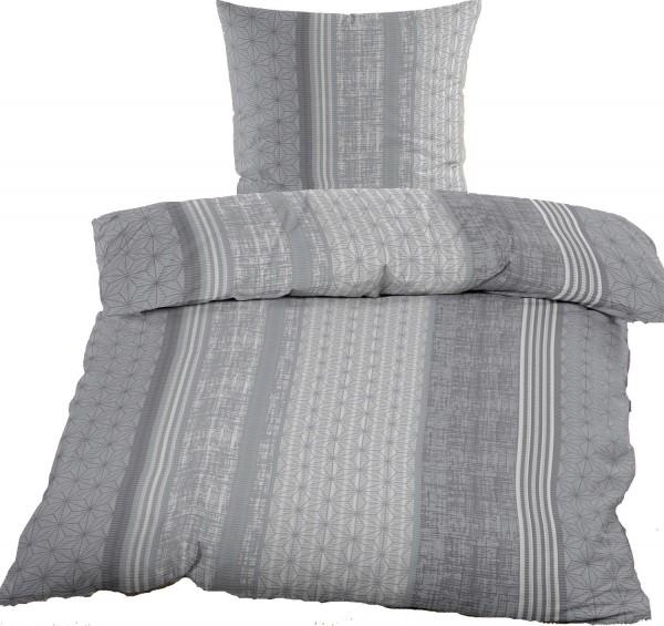 Seersucker Bettwäsche 135x200 +80x80cm, grau weiß, gemusterte Streifen, bügelfrei