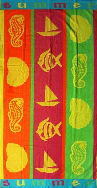 XL Strandtuch, 170x90 cm, neon Muscheln Badetuch, Velour Frottier, Strandlaken, 100% Baumwolle-