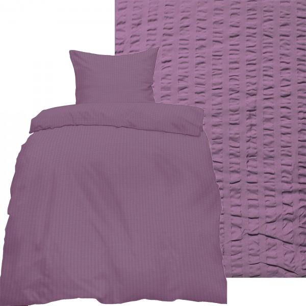 Seersucker Bettwäsche 135x200 +80x80cm, uni einfarbig, fliederlila, Reissverschluß, bügelfrei, Micro