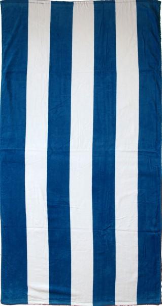 Strandlaken, Strandtuch 150 x 75 cm, blau weiss Blockstreifen, 100% Baumwolle, Velour Frottier, Bade