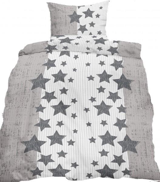 Seersucker Bettwäsche 135x200 +80x80cm, grau weiß Sterne bügelfrei ...