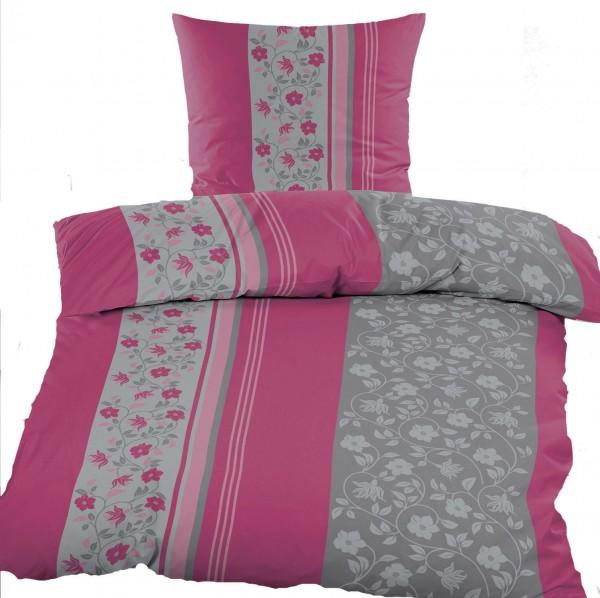 Biber Winter Bettwäsche 135 x 200 + 80x80 cm, Baumwoll Mischgewebe, pinkbeere grau