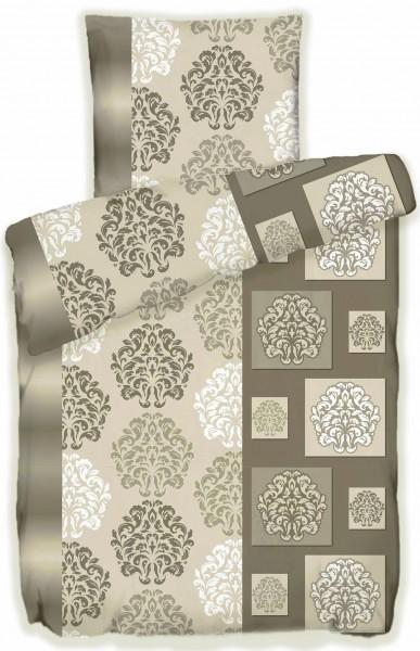Biber Winter Bettwäsche 135 x 200 + 80x80 cm, 100% Baumwolle, taupe(beigegrau) gemuster