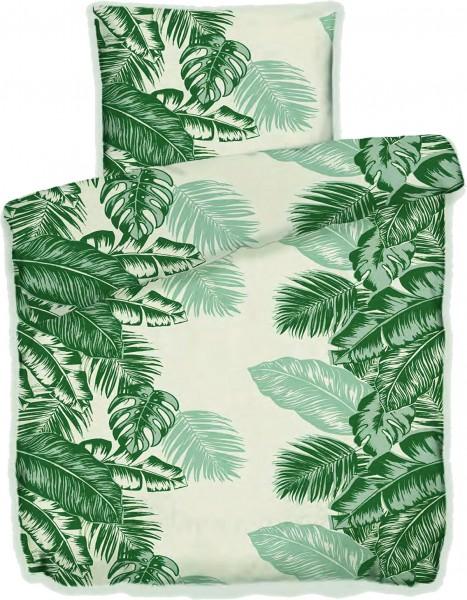 Sommer Bettwäsche, 135 x 200 + 80x80 cm, grün creme, Blätter, Microfaser
