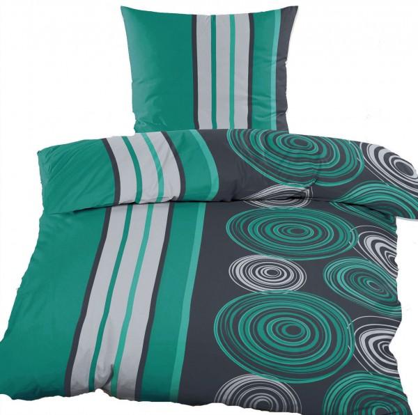 Renforce Bettwäsche 135 x 200 + 80x80 cm, 100% Baumwolle, petrol schwarz Kreise/Streifen