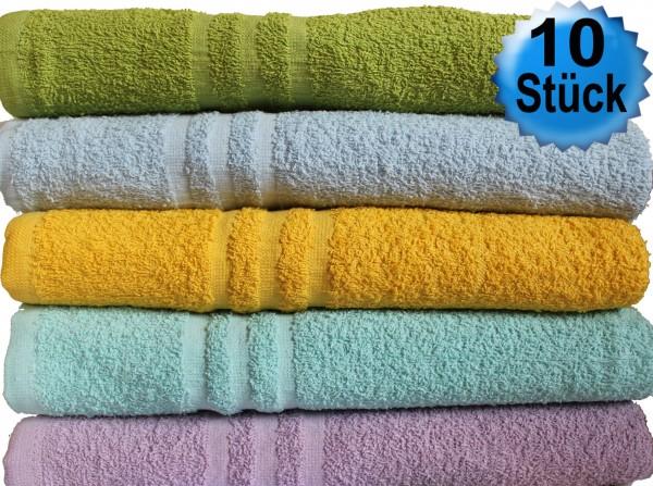 10er Pack Duschtücher Dusch-Handtücher 65 x 130 cm Frottier uni Walk, 100% Baumwolle