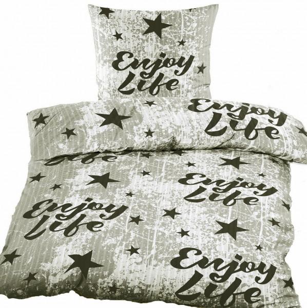 Seersucker Bettwäsche 135x200 +80x80cm, Enjoy Life, grau weiß schwarz, bügelfrei