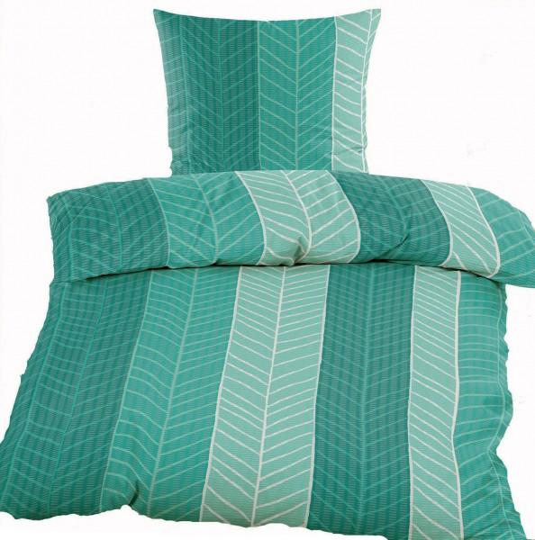 Seersucker Bettwäsche 135x200 +80x80cm, grün, Streifenmuster, bügelfrei