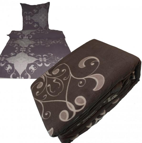 Fleece Winter Bettwäsche, 135 x 200 + 80x80cm, dunkelgrau, beigegrau gemustert, Microfaser