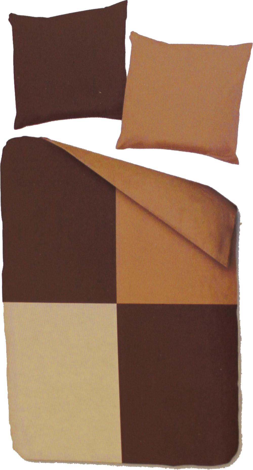 fleece winter wende bettw sche bergr e 155x220 80x80cm braun beige patchwork karo. Black Bedroom Furniture Sets. Home Design Ideas