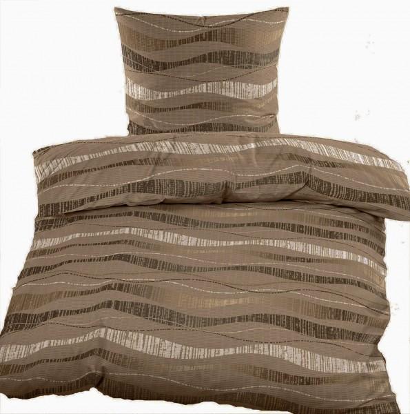 Seersucker Bettwäsche 135x200 +80x80cm, taupe, Wellen Muster, bügelfrei