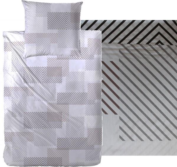 Bettwäsche 135 x 200 + 80x80 cm, Baumwoll Mischgewebe, grau, abstrakte Karo Musterung