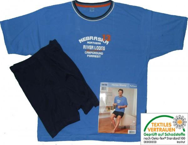 Herren Shorty Gr.54-56 Sommer Pyjama, Jersey, 100% Baumwolle, hellblau dunkelblau, Kurzarm und kurze