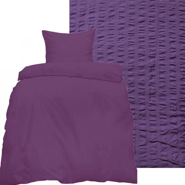 Seersucker Bettwäsche 135x200 +80x80cm, uni einfarbig, lila, Reissverschluß, bügelfrei, Microfaser