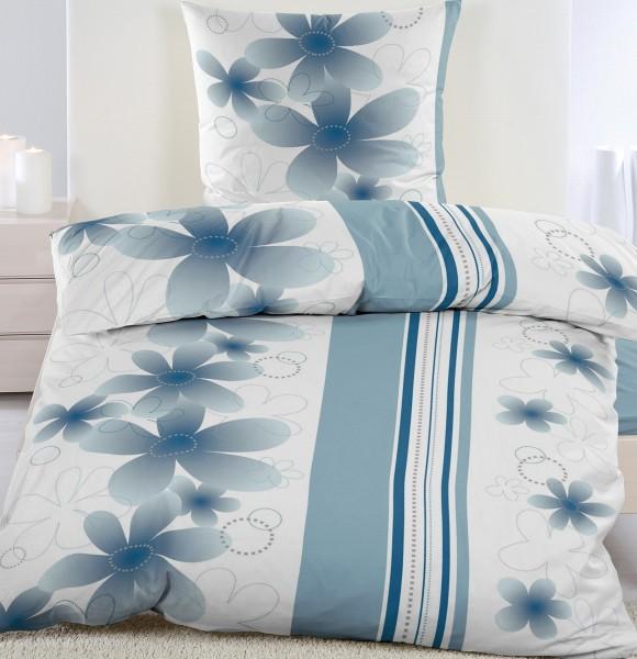 Biber Winter Bettwäsche 135 X 200 80x80 Cm Blau Weiß Blüten