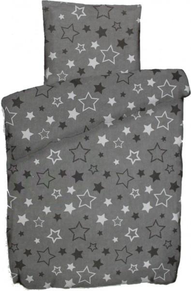 Sommer Bettwäsche, 135 x 200 + 80x80 cm, grau, Sterne, Microfaser