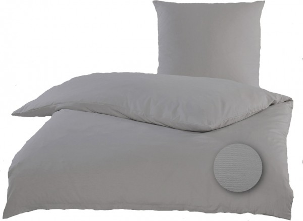 Satin Bettwäsche 135 x 200 + 80x80 cm, Baumwoll Mischgewebe, silber-grau, uni/einfarbig