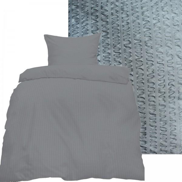 Seersucker Bettwäsche 135x200 +80x80cm, uni einfarbig, silbergrau, Reissvershluß, bügelfrei, Microfa