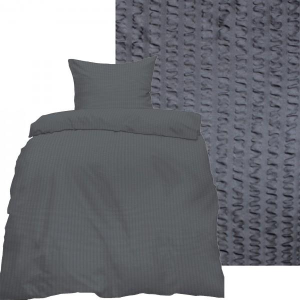 Seersucker Bettwäsche 135x200 +80x80cm, uni einfarbig, anthrazitgrau, Reissvershluß, bügelfrei, Micr