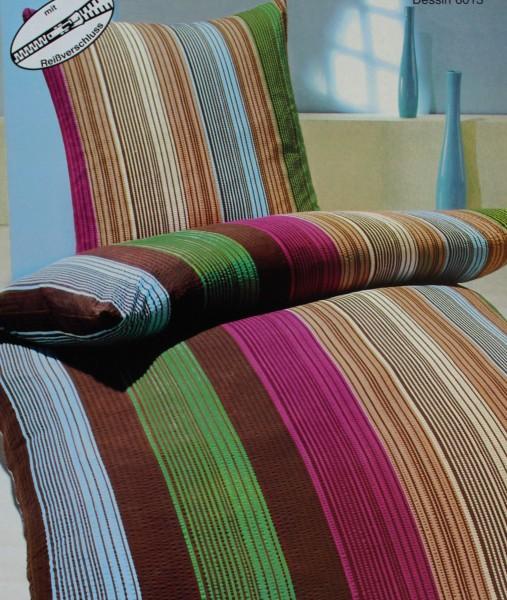 Seersucker Bettwäsche 155x220 +80x80cm Übergröße, Multicolor längsstreifen, bügelfrei, Microfaser