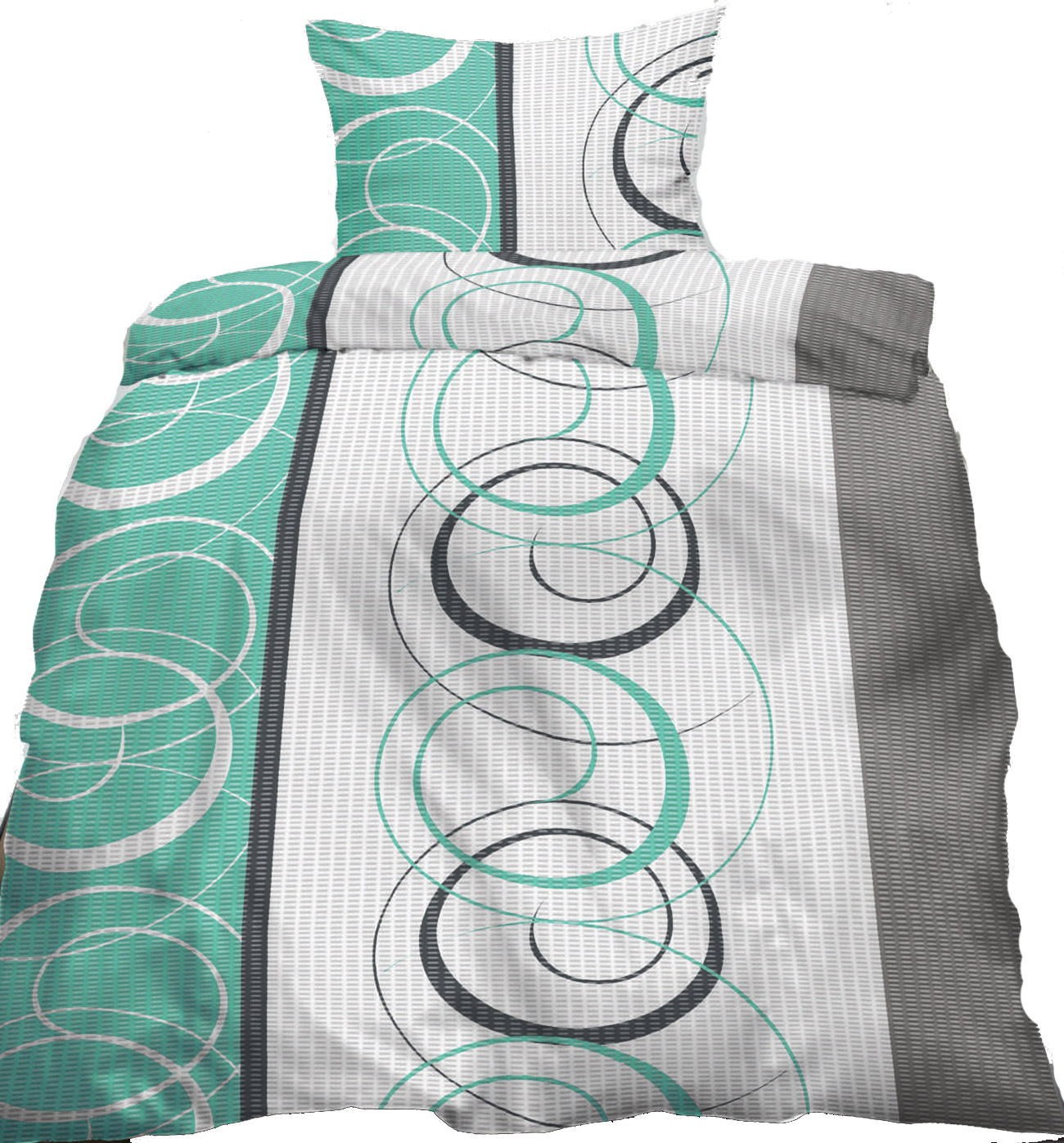 seersucker bettw sche 135x200 80x80cm gr n grau wei kringel b gelfrei kh haushaltshandel. Black Bedroom Furniture Sets. Home Design Ideas
