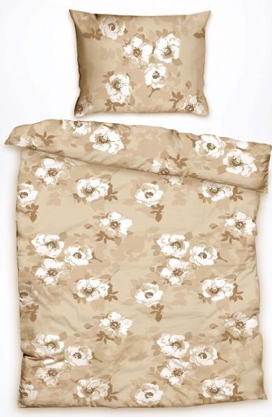 Baumwoll Bettwäsche 135 x 200 + 80x80 cm, beige, Blütenmuster, Reißverschluß