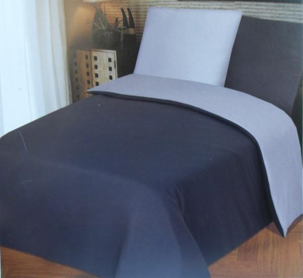 hochwertige Wende Bettwäsche 135x200 +80x80cm, grau silber, uni/einfarbig, Microfaser Jersey