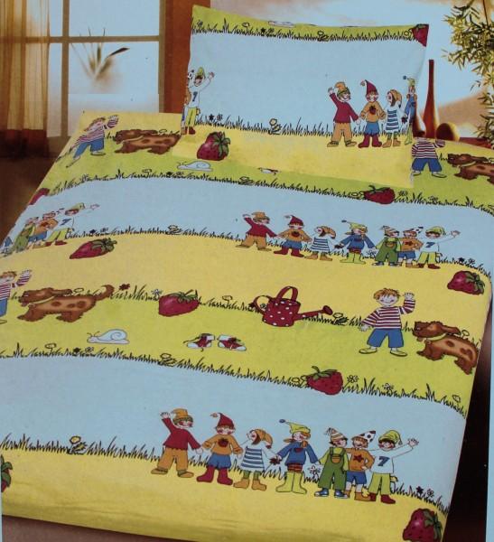 Baby Kinder Bettwäsche 100 x 135 + 40x60 cm, 100% Baumwolle, gelbgrün blau Motiv: Kinder, für Kinder