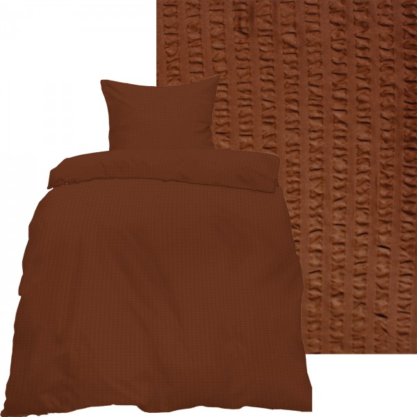 Seersucker Bettwäsche 135x200 +80x80cm, uni einfarbig, braun, Reissvershluß, bügelfrei, Microfaser