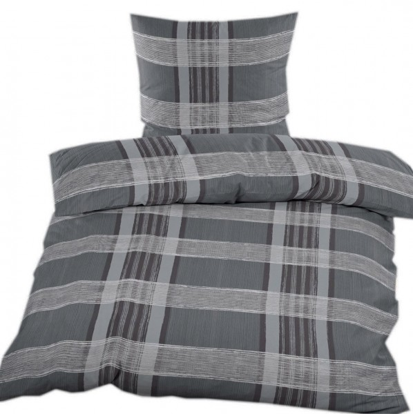 Fleece Winter Bettwäsche 135x200 + 80x80cm, grau dkl.grau Karo Streifen, Microfaser