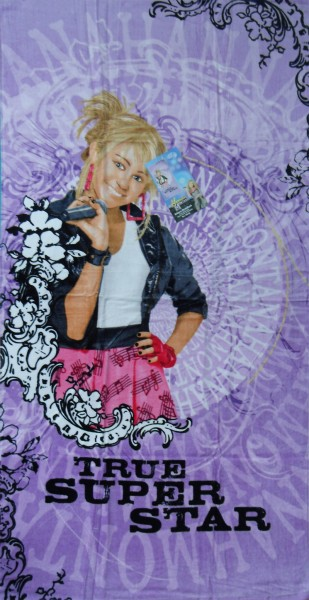 Frottee Strandlaken, Strandtuch 150x75 cm, Hannah Montana, True Super Star, 100% Baumwolle, Velour F