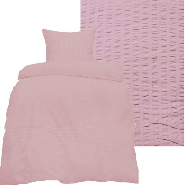 Seersucker Bettwäsche 135x200 +80x80cm, uni einfarbig, roseflieder, Reissverschluß, bügelfrei, Micro
